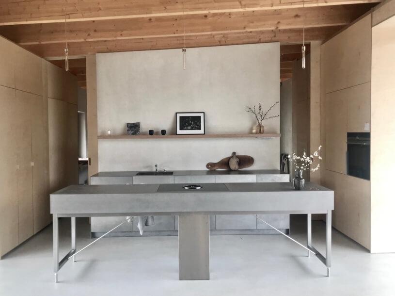 kuchyna v dome z konopného betónu